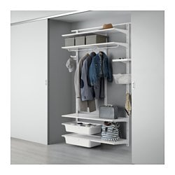 ALGOT wall upright/shelves/rod, white Width: 154 cm Depth: 41 cm Height: 199 cm