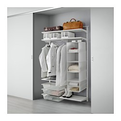 ALGOT wall upright/shelves/rod, white Width: 132 cm Depth: 40 cm Height: 196 cm