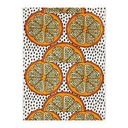 "ORANGELILJA fabric, orange, white/black Weight: 0.75 oz/sq ft Width: 59 "" Pattern repeat: 36 "" Weight: 230 g/m² Width: 150 cm Pattern repeat: 92 cm"