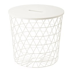 KVISTBRO storage table, white Height: 42 cm Diameter: 44 cm