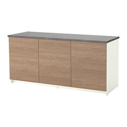 KNOXHULT base cabinet with doors, wood effect, grey Width: 180 cm Depth: 61 cm Height: 85 cm