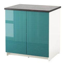 KNOXHULT base cabinet with doors, high-gloss, blue-turquoise Width: 80 cm Depth: 61 cm Height: 85 cm