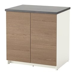 KNOXHULT base cabinet with doors, wood effect, grey Width: 80 cm Depth: 61 cm Height: 85 cm