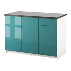 KNOXHULT base cabinet with doors and drawer, high-gloss, blue-turquoise Worktop length: 122.0 cm Width: 120 cm Depth: 61.0 cm