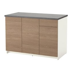 KNOXHULT base cabinet with doors and drawer, wood effect, grey Width: 120 cm Depth: 61.0 cm Height: 85.0 cm