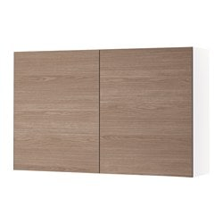 KNOXHULT wall cabinet with doors, wood effect, grey Width: 120.0 cm Depth: 31.0 cm Height: 75.0 cm