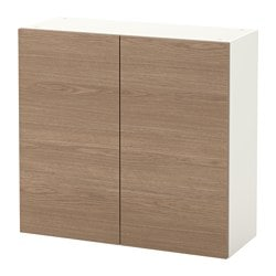 KNOXHULT wall cabinet with doors, wood effect, grey Width: 80.0 cm Depth: 31 cm Height: 75 cm