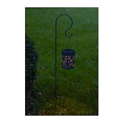 SOLVINDEN, LED solar-powered lantern, with spike light grey
