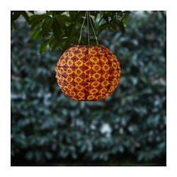SOLVINDEN LED solar-powered pendant lamp, globe orange/red