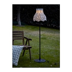 SOLVINDEN, LED solar-powered floor lamp, black/white