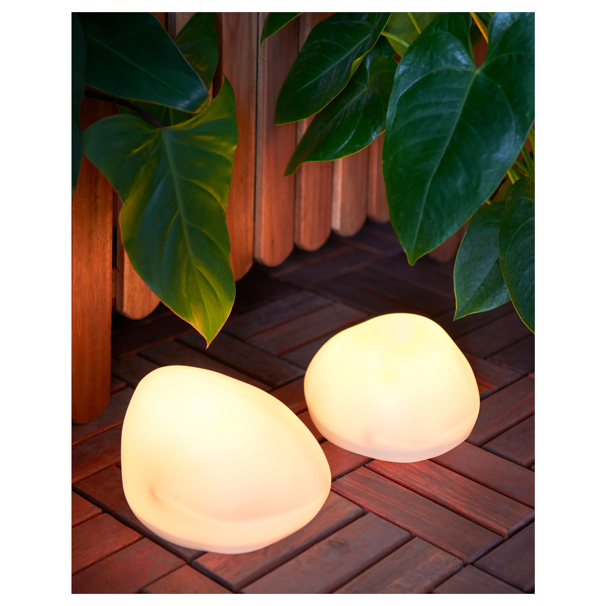 High Quality SOLVINDEN LED Solar Powered Floor Lamp, Rock Shaped Grey Package Quantity: 2