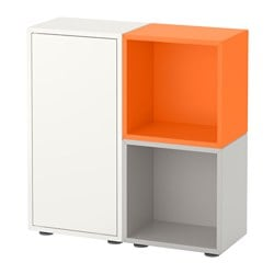 EKET cabinet combination with feet, white/orange, light grey Length: 70 cm Width: 70 cm Depth: 25 cm