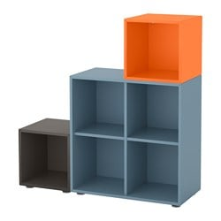 "EKET storage combination with feet, light blue/dark gray/orange Length: 27 ½ "" Width: 41 ¼ "" Depth: 13 ¾ "" Length: 70 cm Width: 105 cm Depth: 35 cm"