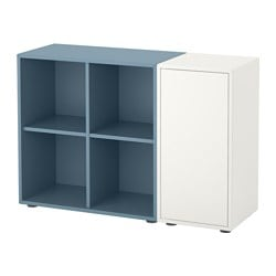 EKET cabinet combination with feet, white, light blue