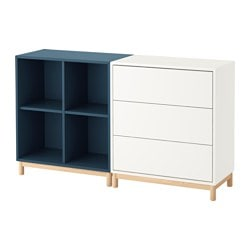 EKET cabinet combination with legs, white, dark blue Length: 70 cm Width: 140 cm Depth: 35 cm