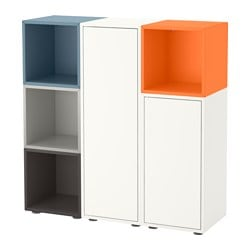 "EKET storage combination with feet, multicolor 1 Length: 27 ½ "" Width: 41 ¼ "" Depth: 13 ¾ "" Length: 70 cm Width: 105 cm Depth: 35 cm"
