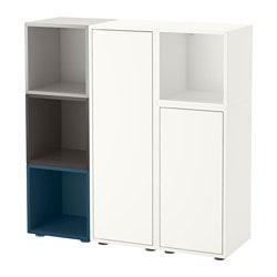 "EKET storage combination with feet, multicolor 2 Length: 27 ½ "" Width: 41 ¼ "" Depth: 13 ¾ "" Length: 70 cm Width: 105 cm Depth: 35 cm"