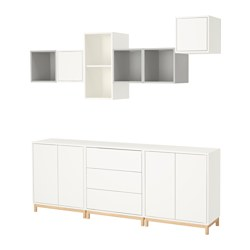 EKET cabinet combination with legs, white/light grey