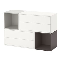 EKET wall-mounted cabinet combination, white/light grey, dark grey Length: 70 cm Width: 105 cm Depth: 35 cm
