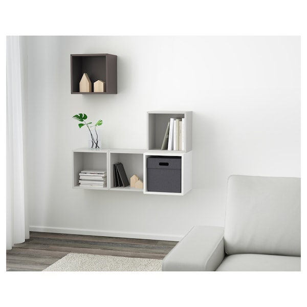 eket schrankkombination f r wandmontage wei hellgrau dunkelgrau ikea. Black Bedroom Furniture Sets. Home Design Ideas