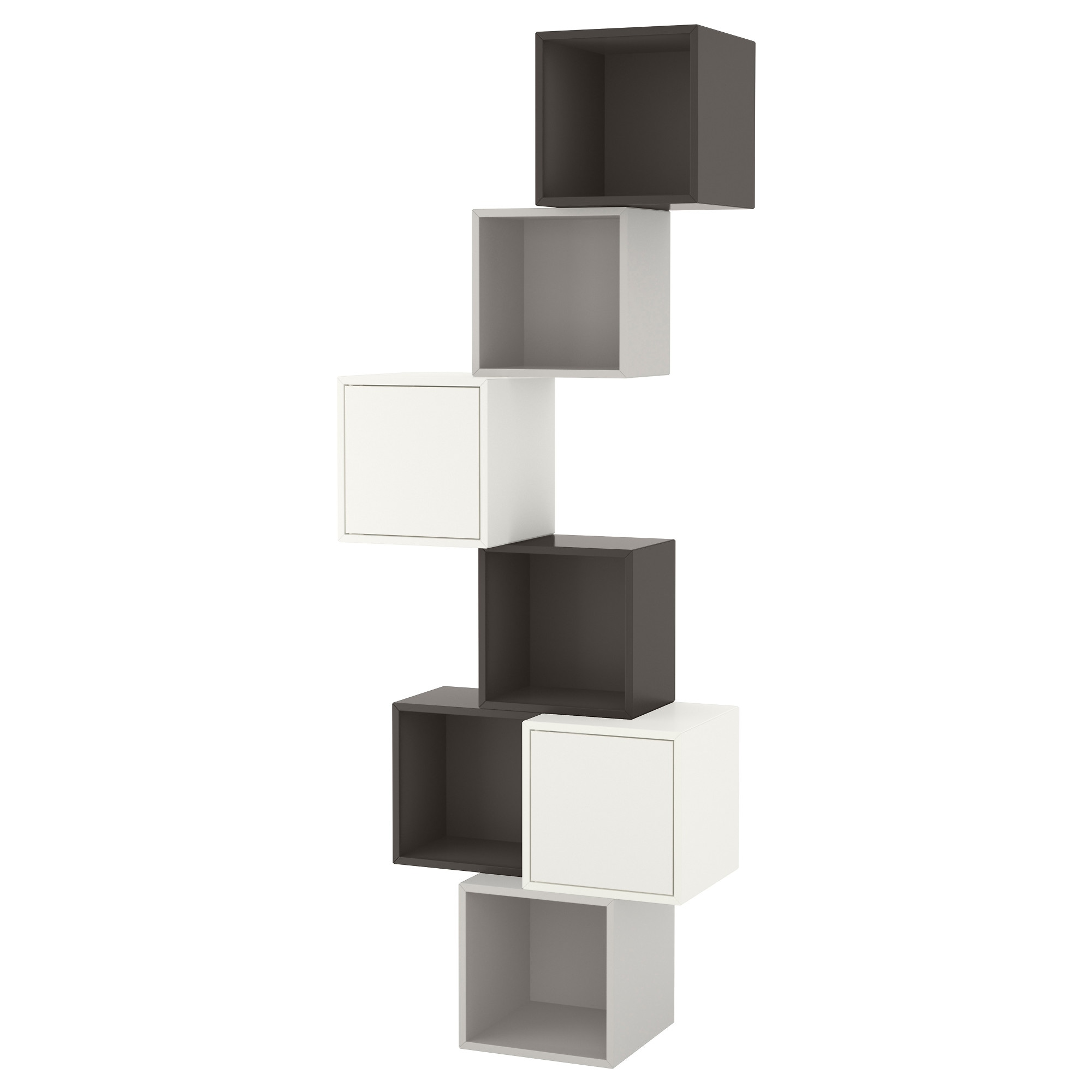 Awesome eket agencement rangement mural blancgris fonc for Meuble mural cube