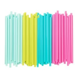 SÖTVATTEN drinking straw, yellow/turquoise, light turquoise/bright pink Package quantity: 100 pieces