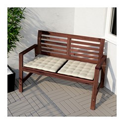 196 Pplar 214 Bench With Backrest Outdoor Brown Brown Stained