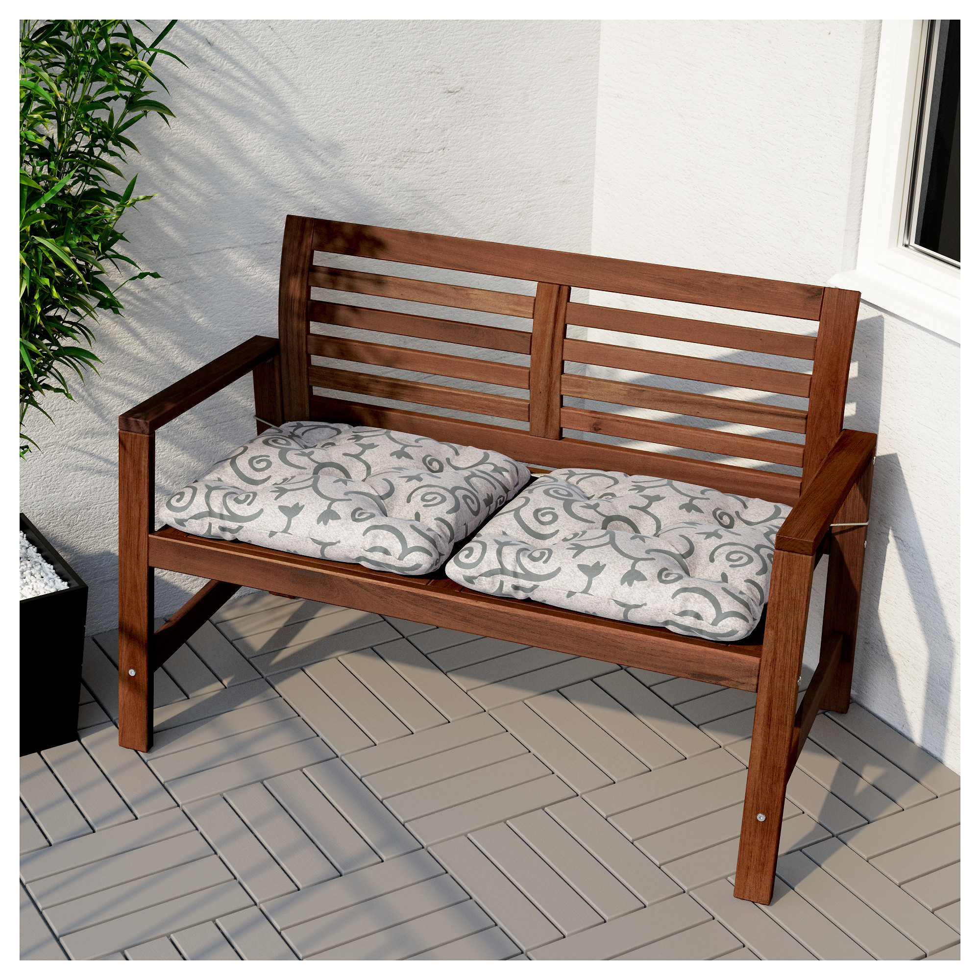 """""""PPLAR– Bench with backrest outdoor brown stained IKEA"""