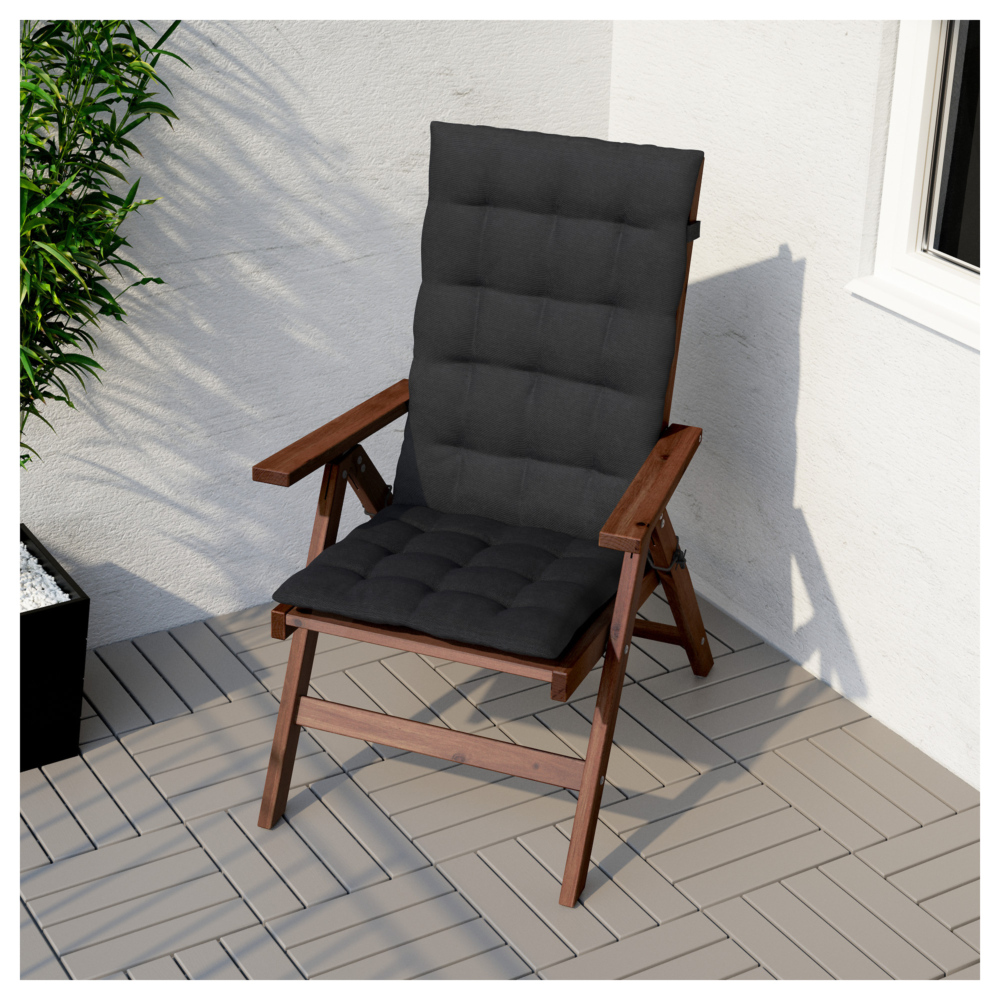 "a""pplara– reclining chair outdoor foldable brown stained ikea"