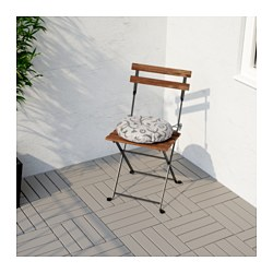 TÄRNÖ Chair, Outdoor, Acacia Foldable Black, Gray Brown Stained Steel