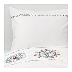 VÄNSKAPLIG duvet cover and pillowcase(s), white embroidery