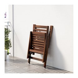 ÄPPLARÖ Reclining Chair, Outdoor, Brown Foldable Brown Stained Brown