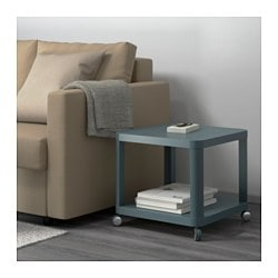 TINGBY, Side table on casters, turquoise