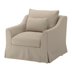 FÄRLÖV armchair, Flodafors beige Height including back cushions: 88 cm Width: 93 cm Depth: 101 cm