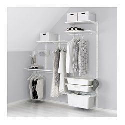 ALGOT wall upright/shelves/box, white Width: 189 cm Depth: 41 cm Height: 197 cm