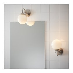 LILLHOLMEN Wall Lamp, Nickel Plated, White
