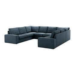 KIVIK sofa, U-shaped, 8-seater, Hillared dark blue Width: 328 cm Depth: 257 cm Height: 82 cm