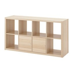 KALLAX shelving unit with doors, white stained oak effect Width: 77 cm Depth: 39 cm Height: 147 cm