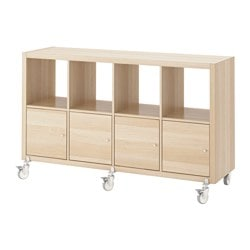 KALLAX shelving unit/4 doors/castors, white stained oak effect Width: 147 cm Depth: 39 cm Height: 89 cm