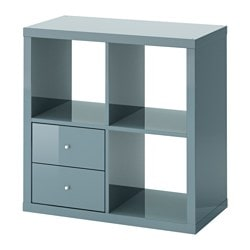KALLAX shelf unit with drawers, high-gloss gray-turquoise