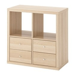 KALLAX shelving unit with drawers, white stained oak effect Width: 77 cm Depth: 39 cm Height: 77 cm
