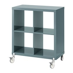 KALLAX shelf unit on casters, high-gloss gray-turquoise