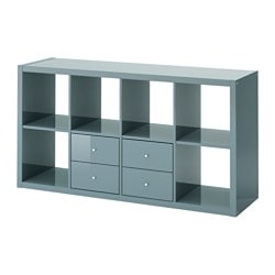KALLAX shelf unit with 2 inserts, high-gloss gray-turquoise