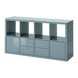 KALLAX shelf unit with 4 inserts, high-gloss gray-turquoise