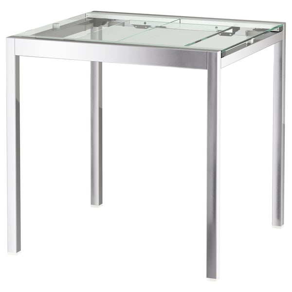 GLIVARP Extendable table - transparent, chrome-plated - IKEA
