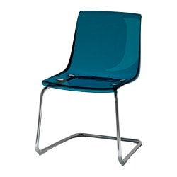 TOBIAS chair, blue, chrome-plated