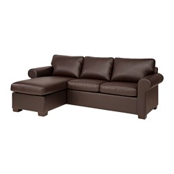 EKTORP sectional, 3-seat left, Kimstad brown
