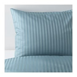 "NATTJASMIN duvet cover and pillowcase(s), blue Thread count: 310 /inch² Pillowcase quantity: 1 pack Duvet cover length: 86 "" Thread count: 310 /inch² Pillowcase quantity: 1 pack Duvet cover length: 218 cm"