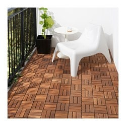RUNNEN floor decking, outdoor, brown brown stained Length: 30 cm Width: 30 cm Thickness: 2.0 cm