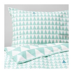 "STILLSAMT duvet cover and pillowcase(s), light turquoise Thread count: 144 square inches Duvet cover length: 86 "" Duvet cover width: 64 "" Thread count: 144 square inches Duvet cover length: 218 cm Duvet cover width: 162 cm"